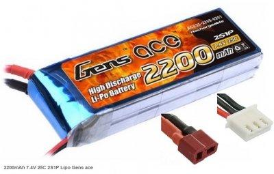 Náhradná batéria LiPo 2200mAh 7.4V 2S1P 25C Gens Ace