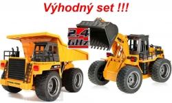 RC banské vyklápacie auto + Buldozer HUINATOYS, set 2.4GHz
