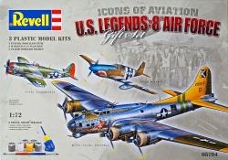 Plastový model Revell US Legends 8th AF B-17G, P-51B, P-47D Gift-set 1/72, 05794