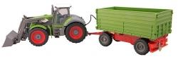 RC hračka Farm Traktor s lyžicou a vyklápacou vlečkou do boku 1:28
