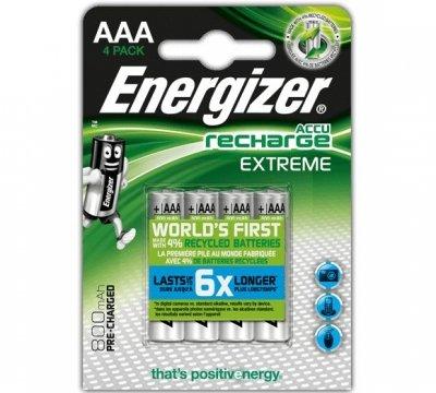 Nabíjacia batéria Energizer RECHARGE EXTREME – AAA, 800 mAh 4 ks