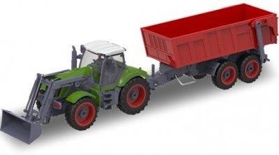 RC hračka na ovládanie Farm Traktor s lyžicou a vyklápacou vlečkou 1:28