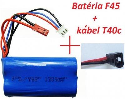 Náhradná batéria MJX F45,T23, T55, 7.4V 1500mAh Lion + kábel T40c