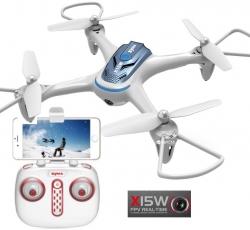 RC dron Syma X15W, FPV WiFi kamera, 2.4GHz, auto-start, funkcia zavesenia, biely