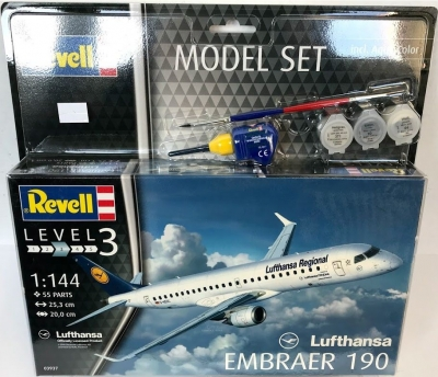 Plastový model Revell Embraer 190 Lufthansa Model Set 1/144, 63937