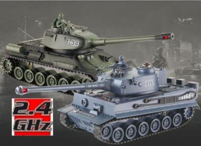 RC Súbojové tanky na diaľkové ovládanie, UF: Russian T-34 a German Tiger, 2.4GHz