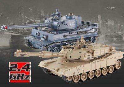 RC Súbojové tanky na ovládanie, UF: M1A2 Abrams a German Tiger v2 , 2.4GHz, UF/99827