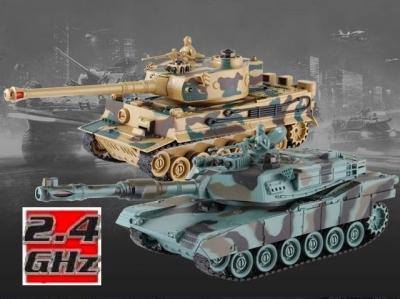 RC Súbojové tanky na ovládanie, M1A2 Abrams and German Tiger v2 2.4GHz 1:28 RTR