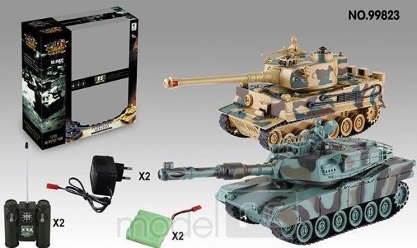 RC Súbojové tanky na diaľkové ovládanie M1A2 Abrams a German Tiger, 2.4 GHz