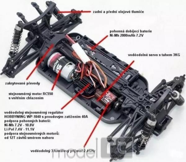 RC auto HiMoto Tanto  2,4GHz, 1:10 E10XB čierné