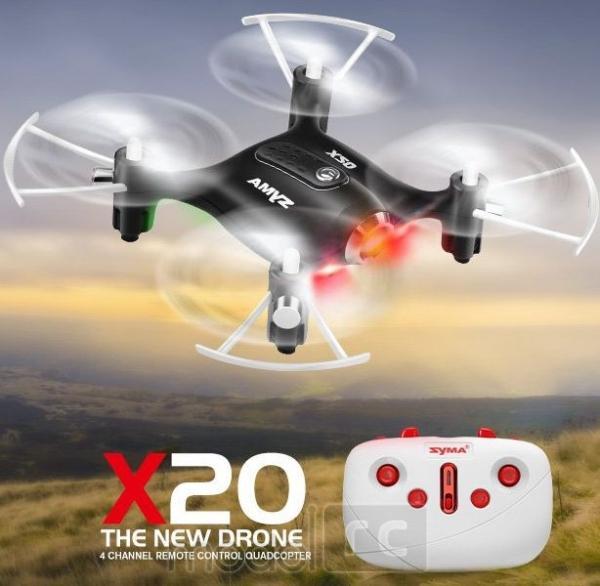 RC dron na ovládanie Syma X20, 2.4GHz, auto-start, funkcia zavesenia, čierna