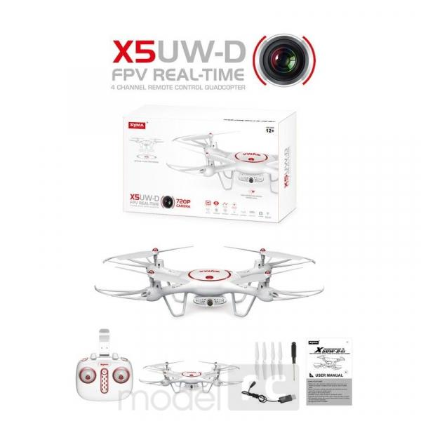 RC kvadrokoptéra Syma X5UW-D, FPV 720p kamera WiFi, diaľkovo otáčacia kamera, biela